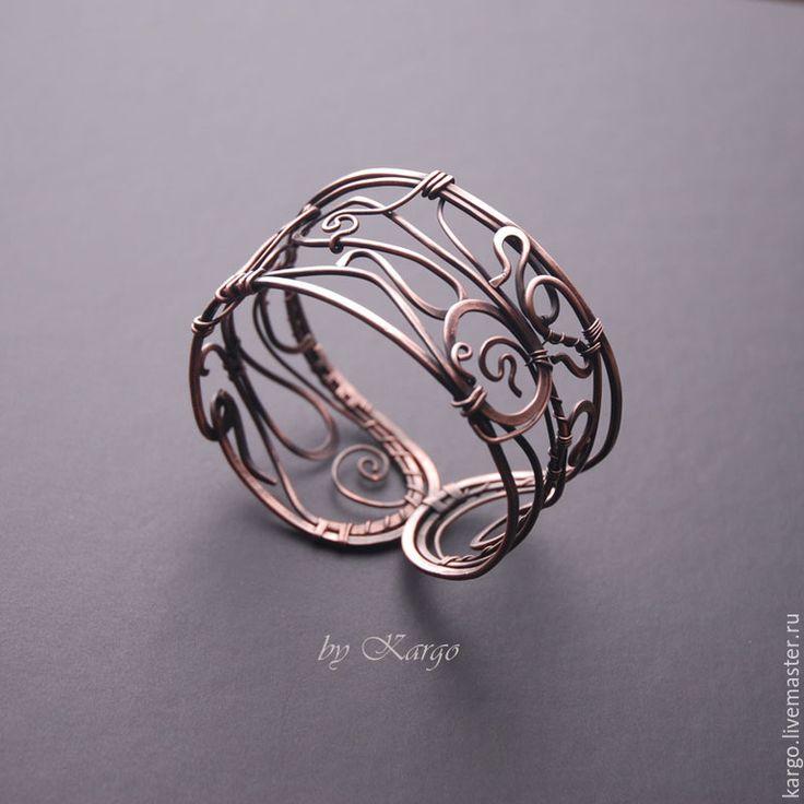 Купить Браслет Le Brante - медь, браслет, широкий браслет, медный браслет, wire wrap