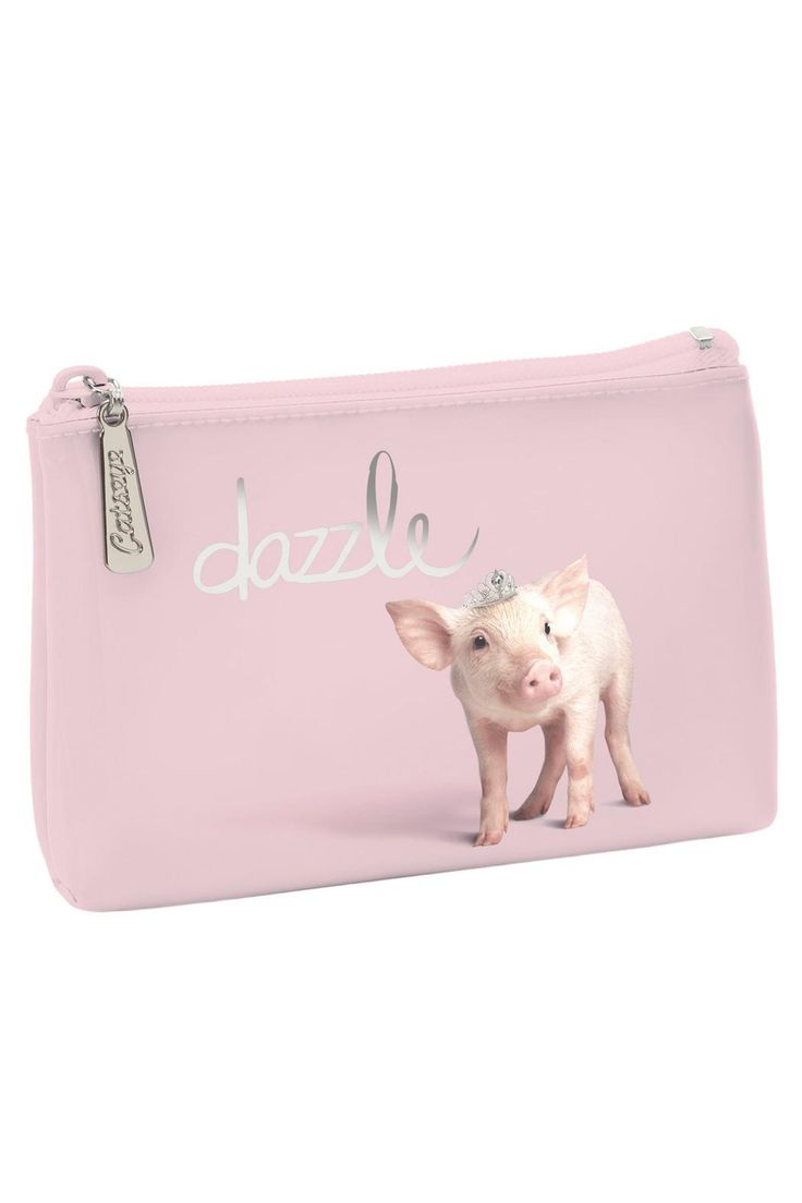 "Sweetest Dazzle Pig wearing a tiara! Zipper top. Does hold the newest cell phone! Perfect for cash, credit cards, etc.    Measures: 6.5"" x 4""    Dazzle Piggy Pouch by Patricia's Presents. Bags - Cosmetic Pouches Ridgefield, Connecticut"