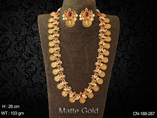 Temple Coin Necklace Sets Laxmi Temple Jewellery Temple Jewellery Online Jewelry Collection Manek Ratna In 2020
