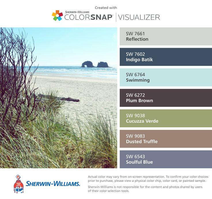 Colors   Combos   Palettes   Color Snap App   Sherwin-Williams   Reflection Gray   Indigo Batik   Plum Brown   Cucuzza Verde   Dusted Truffle   Soulful Blue