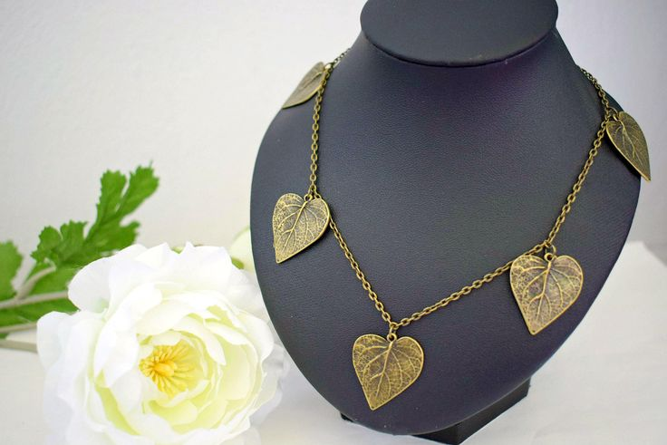 Bronze Leaf Necklace - Nature Jewelry - Charm Necklace - Leaves Jewelry - Statement Necklace - Unique Jewelry Women - Autumn Leaves by SkadiJewelry on Etsy