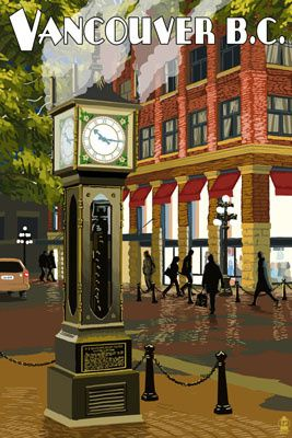 Vancouver, BC - Steam Clock - Lantern Press Poster http://www.lanternpress.com/catalog/item/41401?from=125
