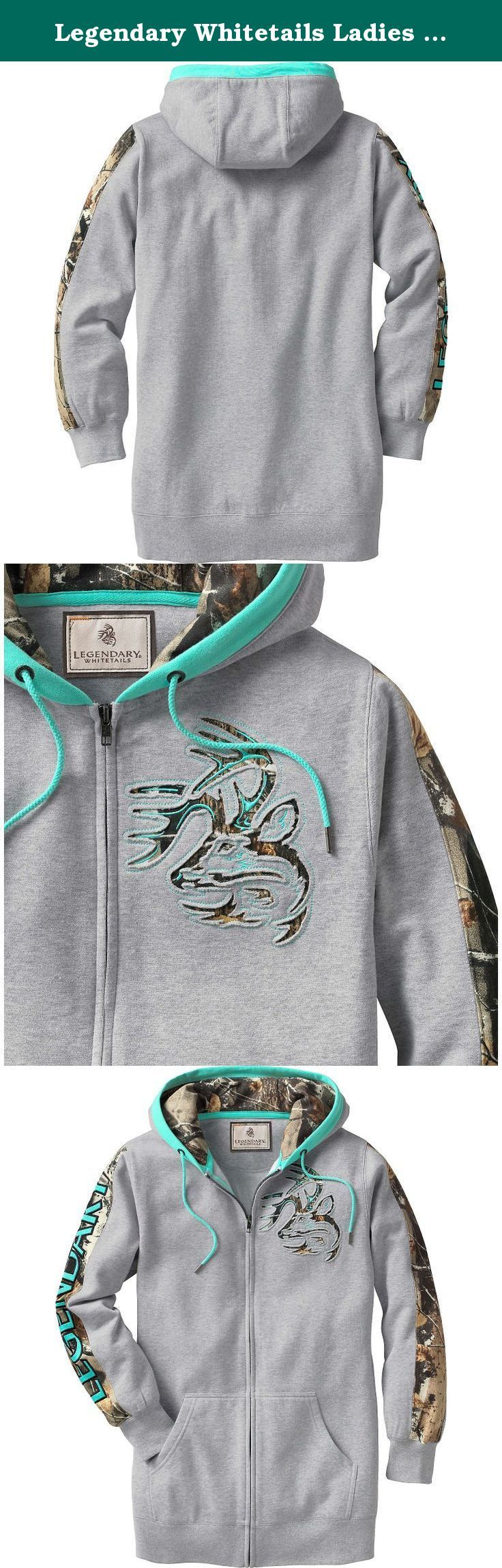 """Legendary Whitetails Ladies Full Zip Tunic Outfitter Hoodie Athletic Heather Medium. A tunic/hoodie combo for the girl with true camo roots! Made from a soft cotton/poly blend, this versatile zip-up hoodie is 3"""" longer than our regular hoodie and features Big Game® Camo sleeve accents, hood lining, and authentic Legendary® Signature Buck appliqué. A fashionable hooded tunic made just for the ladies that love their camo! Material: 70% Cotton and 30% Polyester Wash: Machine wash cold..."""