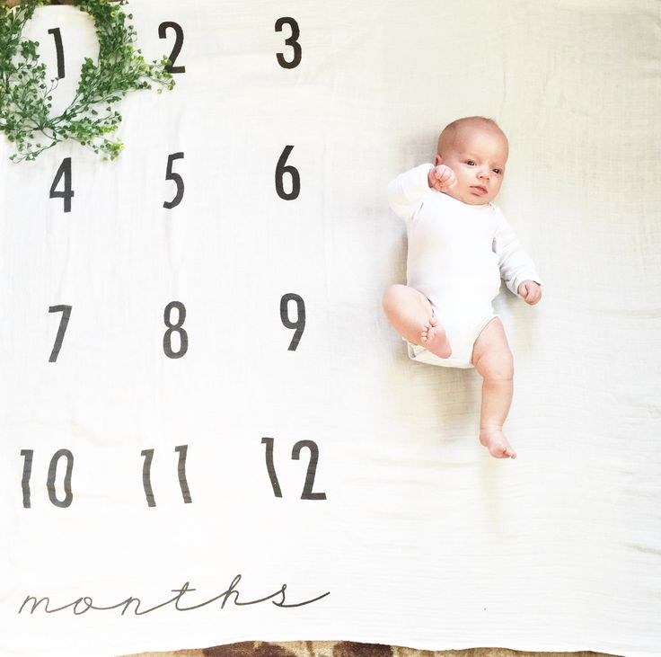 Baby Monthly Milestone Blanket - Organic Cotton Muslin Swaddle Blanket -- 3 weeks out