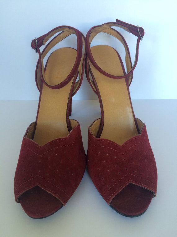1970s Burgundy Suedette Peeptoe Heels  Size UK 4 by HappyRedUK