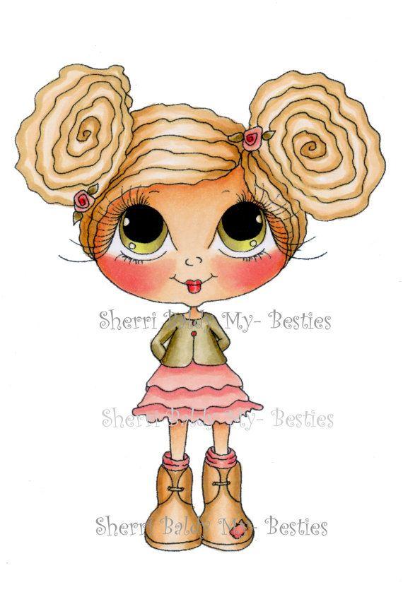 INSTANT DOWNLOAD Digital Digi Stamps Big Eye Big Head Dolls NEW Besties img659…