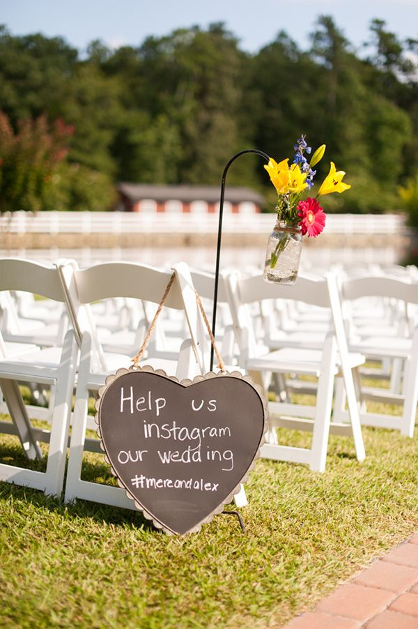 instagram sign http://www.weddingchicks.com/2013/10/25/blue-and-green-country-wedding/