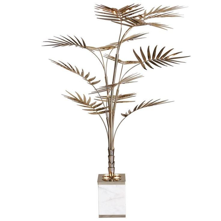 European Ivete Gold, Brass and Marble Palm Tree Floor Lamp or Table Lamp | From a unique collection of antique and modern floor lamps at https://www.1stdibs.com/furniture/lighting/floor-lamps/