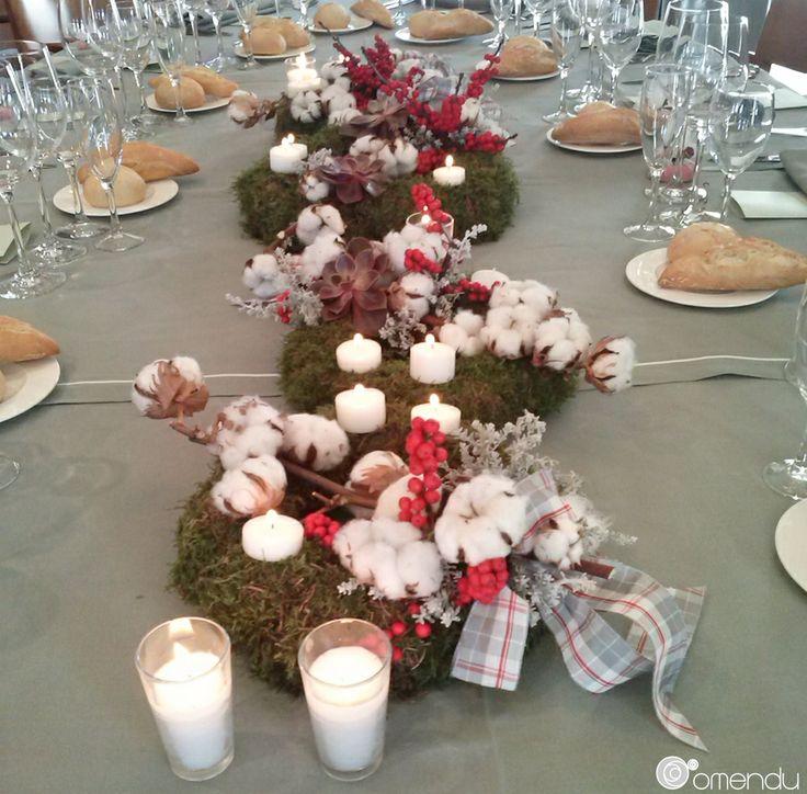 Coronas de musgo, flores de algodón, lazos y velas para dcorar la mesa de una boda de invierno