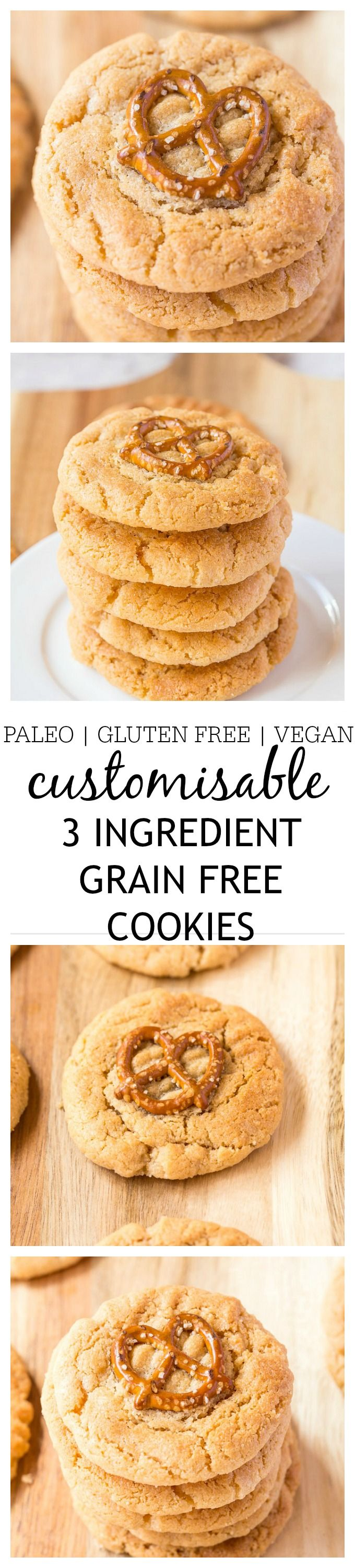 Customisable 3 ingredient flourless cookies which just require 1 bowl and 10 minutes- So easy, delicious and a hit amongst all! {paleo, gluten free, vegan}