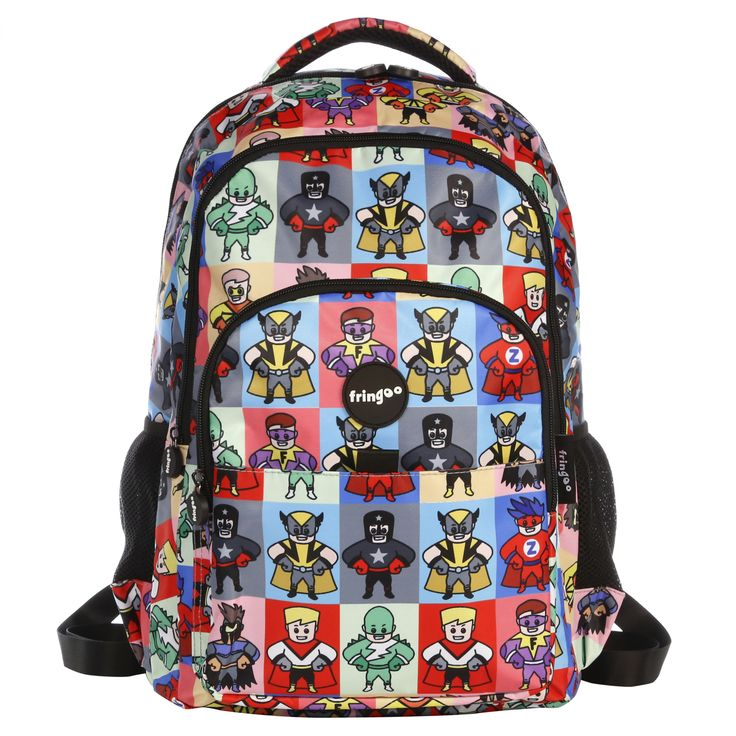 Multi-compartment, water-resistant backpack. Unique,vibrant backpack for anyone who enjoys cartoons and bold characters. Sturdy, water-proof design will ensure durability.   Matching drawstring bag is available online at www.fringoo.co.uk