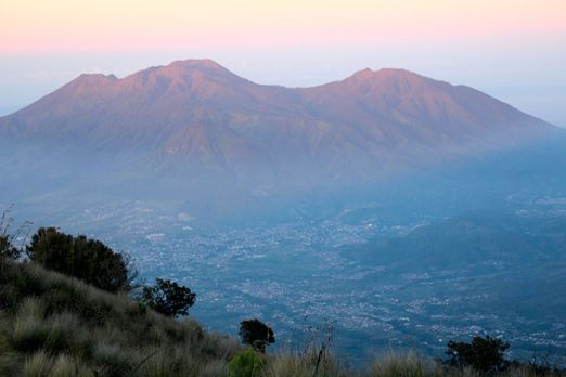 Sleeping lady in the morning: For its shape, local people call this mountain range as Pegunungan Putri Tidur, literally ...