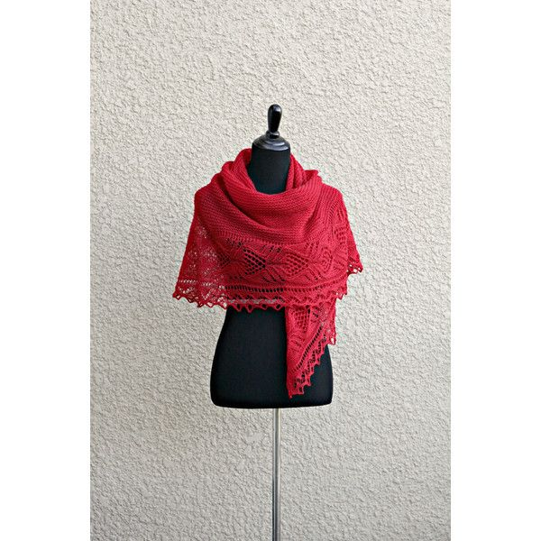 Knit shawl, red shawl, lace shawl, knitted wrap gift for her crimson... (£105) ❤ liked on Polyvore featuring accessories, scarves, red scarves, lacy shawl, lace scarves, wrap shawl and lace shawl