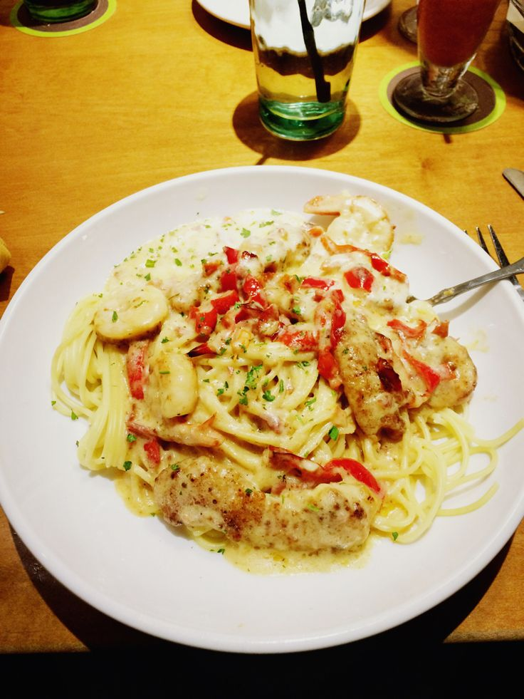 Chicken and shrimp carbonara the olive garden munchables - Olive garden chicken carbonara recipe ...