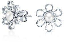 Bling Jewelry .925 Sterling Silver Freshwater Cultured Pearl Daisy Stud Cz Flower Earrings.