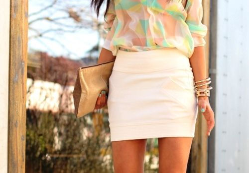 Summer Time: Blouses, Spring Color, Summer Outfit, Pastel Cerveza Tennis, Shirts, Pencil Skirts, Spring Outfit, Pastel Color, White Skirts
