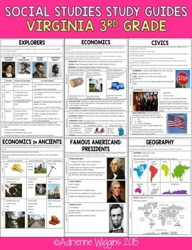 """I send home all the study guides for the year in September as a """"SS Playbook"""" and throughout the year just assign the page numbers to study. 3rd Grade Social Studies Study Guides aligned to Virginia SOLs 15 Pages! Each VA SOL objective has it's own page to include the standard, explanation, example, and visuals."""