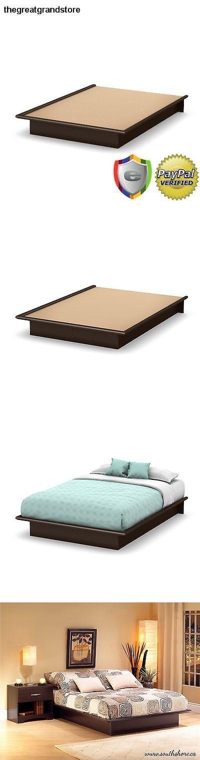 Bedding: Full Size Platform Bed Frame Modern Bedroom Dorm Furniture Black Wood Foundation -> BUY IT NOW ONLY: $137.5 on eBay!