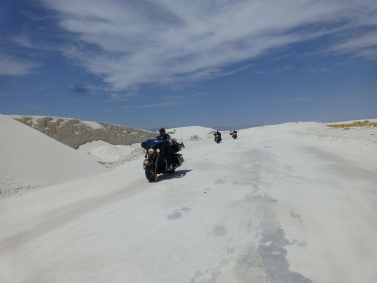 Motorcycle travel adventure in White Sands Dunes, US