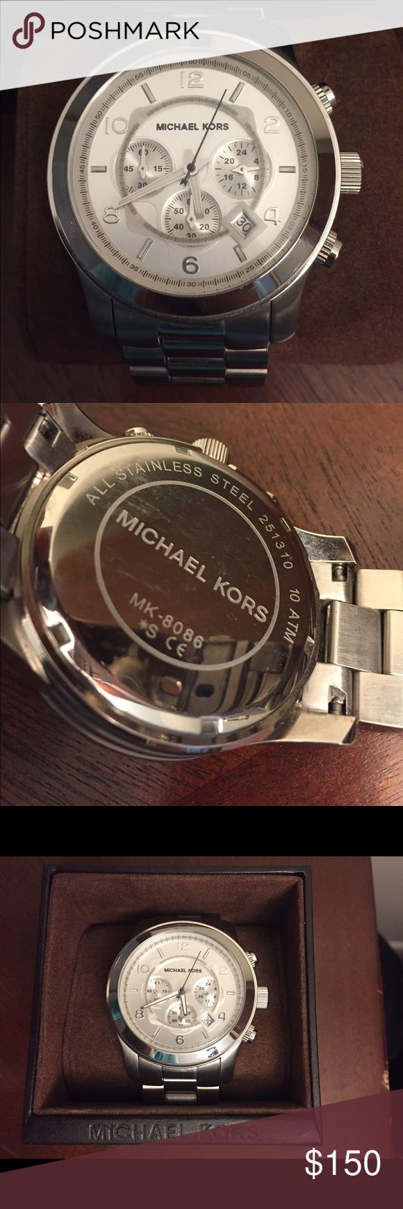 Michael Kors Men's silver watch, model 8086 ⏱Michael Kors men's stainless steel Lexington chronograph watch, model #8086. Practically new in box with original watch pillow and booklet. Rarely worn and in excellent condition. Needs new battery. Make an offer!⏱ Michael Kors Accessories Watches