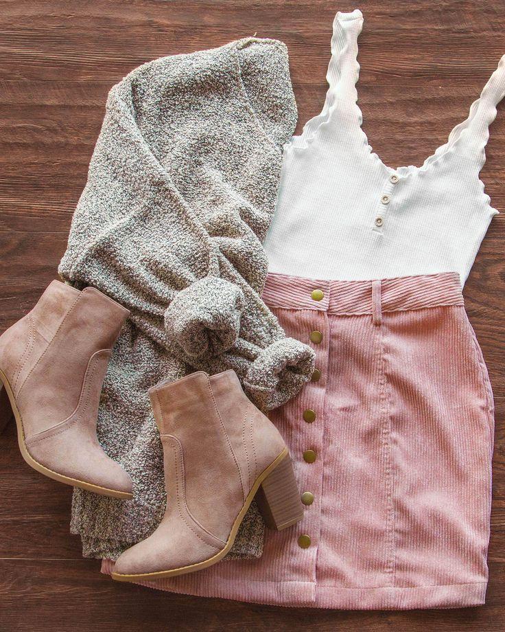 Sara Snap Front Corduroy Skirt – Blush