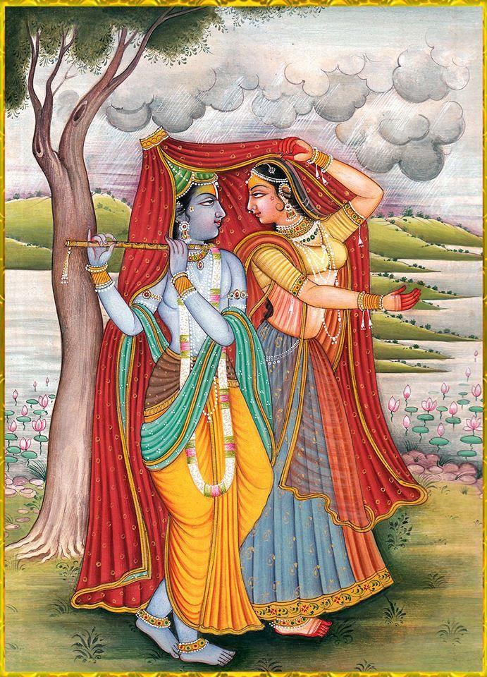 Radha and Krishna share a rain coat