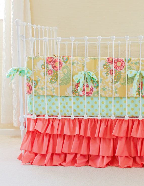 Coral Mint Gold Crib Bedding, Coral Baby Bedding, Baby Girl Bedding, Custom Crib  Bedding, Buttercup Yellow Crib Set for Mint Coral Nursery - Best 25+ Coral Baby Bedding Ideas On Pinterest Peach Baby