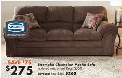 Simmons Champion Mocha Sofa with Pillows from Big Lots