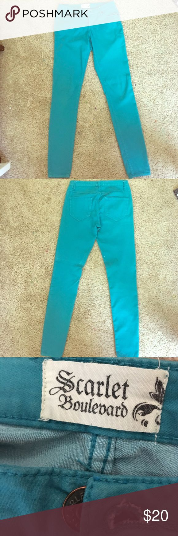 "Teal Skinny Jeans NWOT. These are teal jeans that say they will fit a 25"" waist, but they are very stretchy so I would say they can fit 25""-27"". I'm willing to trade and bargain!! scarlet boulevard Jeans Skinny"