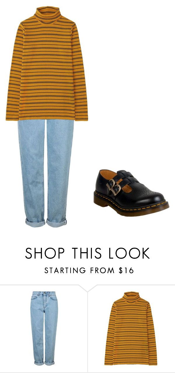 """aesthetic"" by juliedr ❤ liked on Polyvore featuring Topshop, Uniqlo, Dr. Martens, yellow and aesthetic"