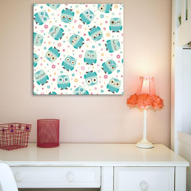 Tableau Chambre fille - Hiboux Mignons. Pour la décoration des chambres de filles, voici un tableau original composé de hiboux mignons sur fond de petites fleurs. Couleurs claires et hiboux aux différents regards pour une déco douce et réussie.