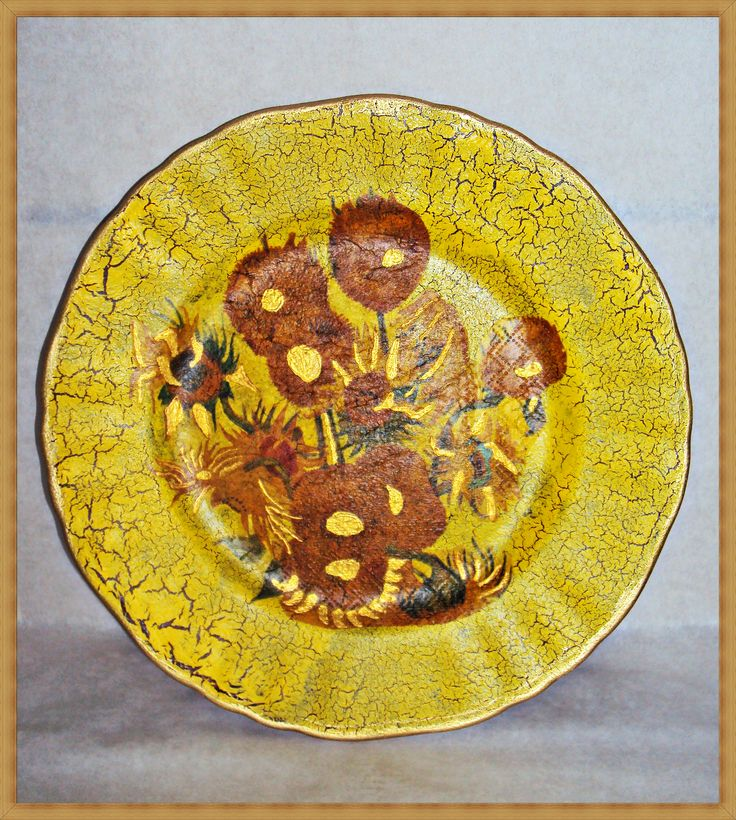 Decoupage on glass plate, Van Gogh sunflowers painting, my favourite!!