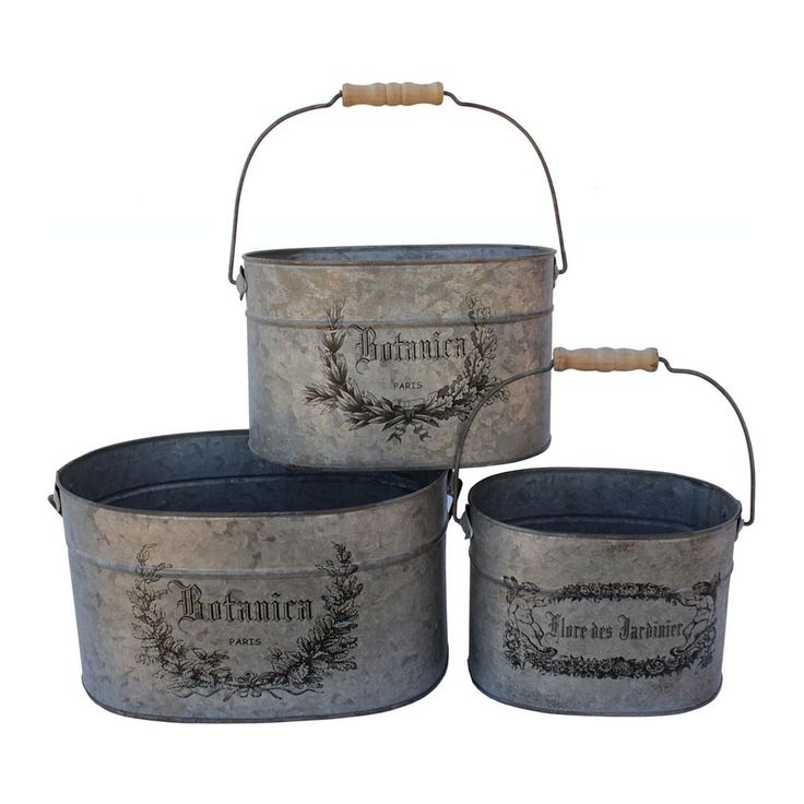 Use these on a vintage tablecloth or distressed wood - they would make great containers to display pillows, sachets, stuffed dolls, tea towels, and more!: Botanica Pail, Accent Pieces, French Oval, Oval Buckets, Decor Items, Pieces Botanica, Buckets Sets, French Kitchens, Pail Sets