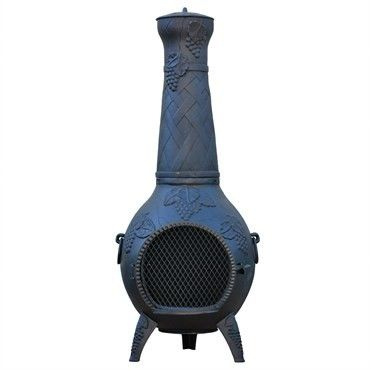 Features:  -Safe, single opening traditional chiminea.  -Non-rusting, solid cast iron finished with high temperature paint.  -Stainless steel mouth screen and carry handles.  -Cast iron bottom grate t