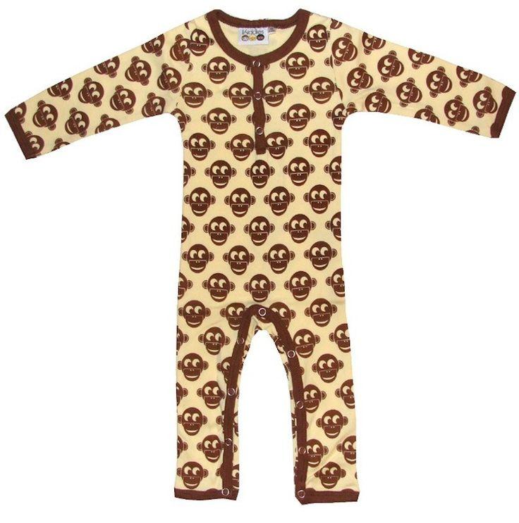Kiddies - Coverall - Creme/Brown Monkeys