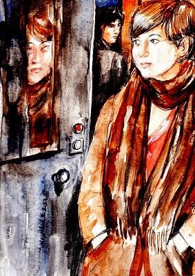"""""""Incomprensibile solitudine"""".  Seduta ad un tavolino della saletta di un bar, la ragazza si era fatta servire una tazza di tè dal cameriere, poi aveva aperto un libro che aveva dentro la sua borsa, e ne aveva scorso velocemente alcune pagine, seguendo le parole, a dire la verità, con scarsa concentrazione. Intorno c'erano poche persone, una coppia di innamorati, tre giovanotti, un anziano da solo.... (di Bruno Magnolfi - Acquerello di Giulia Tesoro)."""