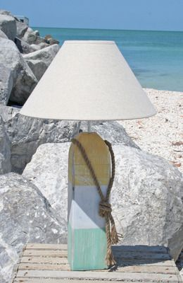 beach.quenalbertini: Aqua, White and Yellow Striped Buoy Lamp