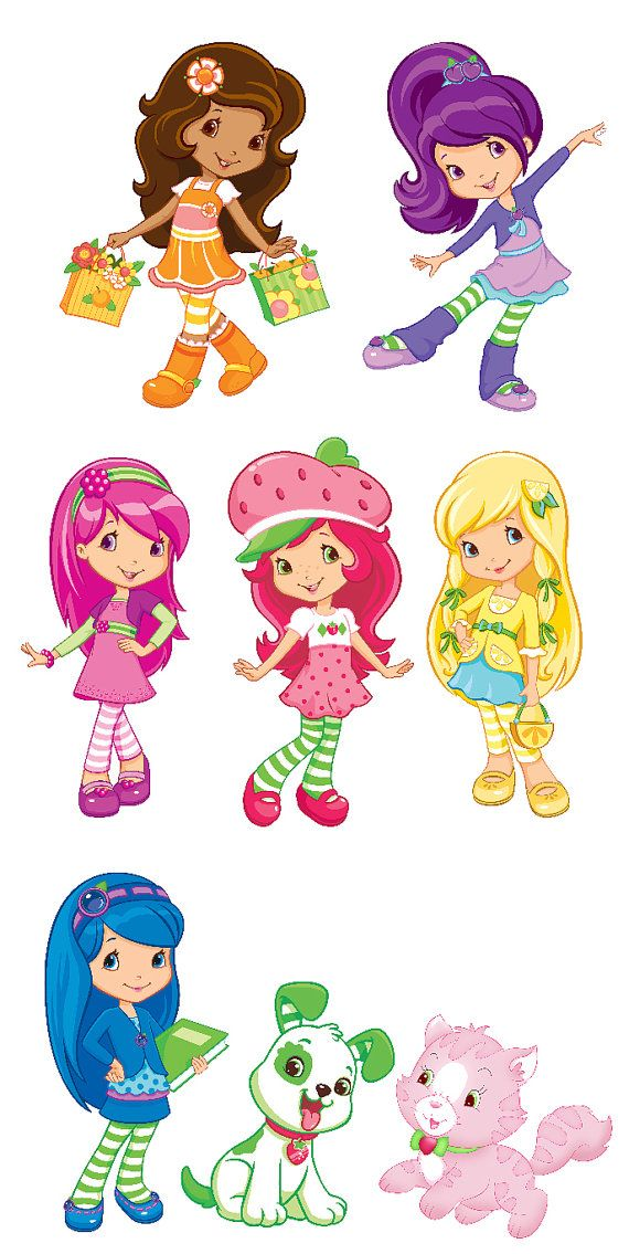 Strawberry Shortcake Set of 6 Characters Removable Wall Stickers with Free Custard the Cat and Pupcake on Etsy, $24.99