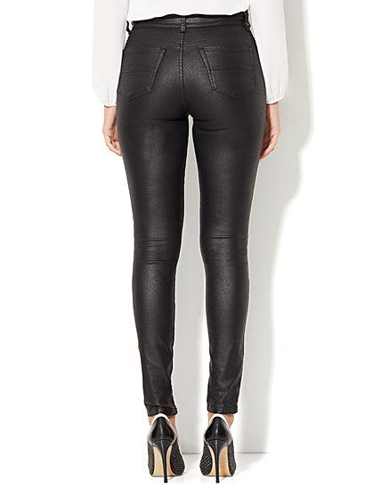 Soho Jeans - Jennifer Hudson Zip-Accent Coated Legging - Black  - New York & Company
