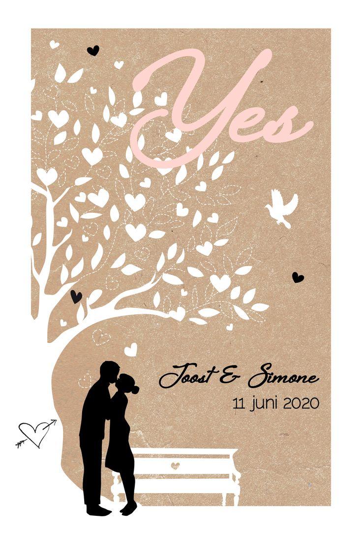 Romantische trouwkaart met silhouetje van het aanstaande bruidspaar op kraft.