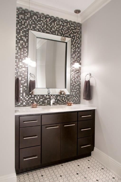 bathroom vanity ideas pinterest bathroom powder room vanity area black and white mosaic 16158