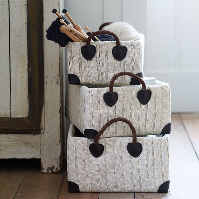 Fancy   Three Cable Knit Storage Boxes