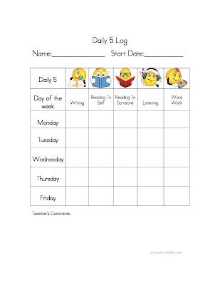 Classroom Freebies: Daily 5 Log