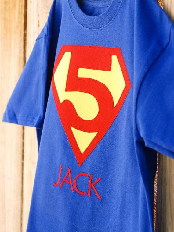 Customized Superhero Personalized T-Shirt with choice of number and Childs Name Embroidered via Etsy