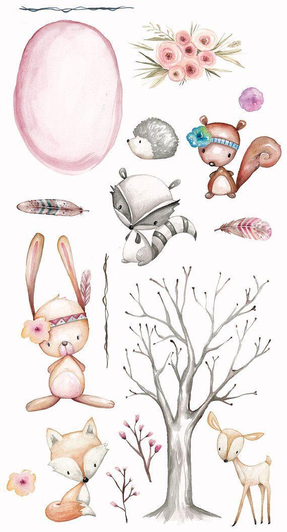 Waldkindergarten Clipart, Planer Clipart, Aquarell, handgemalt, Blumen, Federn, Baum, Fuchs, Hirsch, Eichhörnchen, Planer Aufkleber, Planer