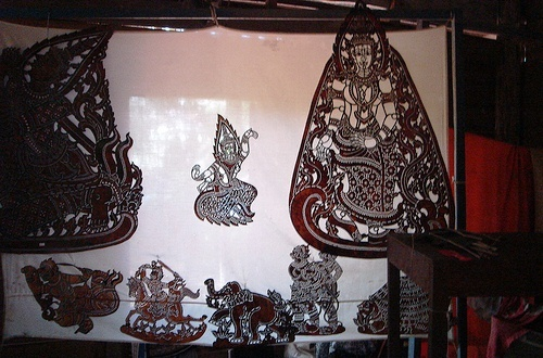 Cambodia Shadow Shadow Theater; Nang sbek (shadow theatre) (or Lkhaon Nang Sbek is closely related to the Nang Yai of Thailand