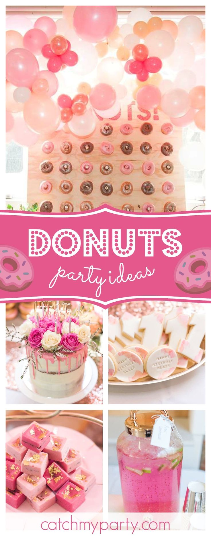 Take a look at this wonderful Punch of Pink Donut birthday party! The birthday cake is amazing!! See more party ideas and share yours at CatchMyParty.com  #donuts #birthdayparty
