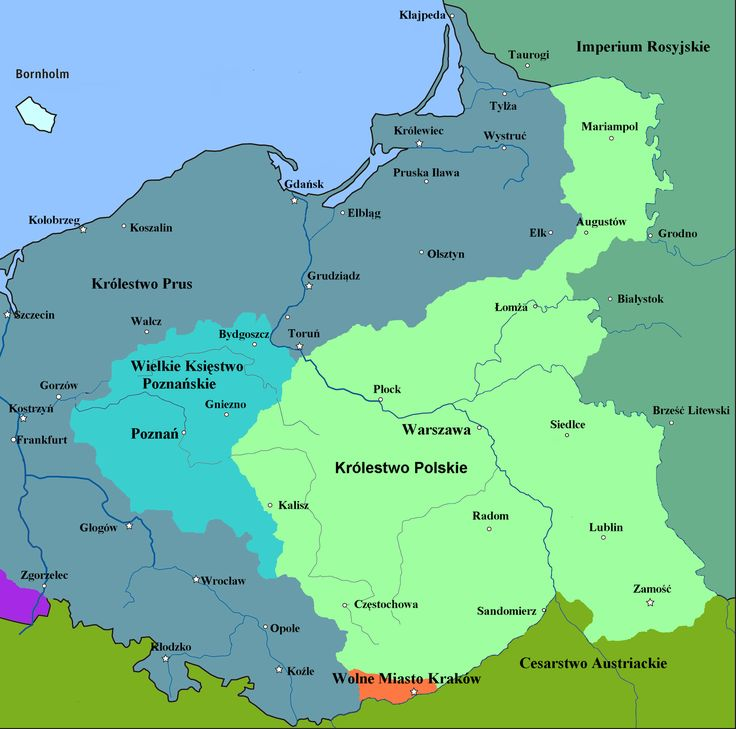 The map of the Congress Kingdom of Poland