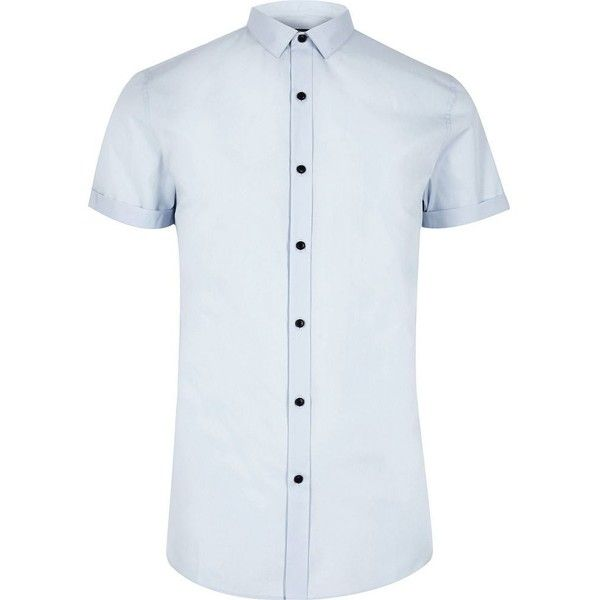 River Island Light blue smart short sleeve slim fit shirt ($19) ❤ liked on Polyvore featuring men's fashion, men's clothing, men's shirts, men's casual shirts, shirts, blue, mens slim fit casual shirts, mens tall shirts, mens cutaway collar dress shirts and mens button front shirts