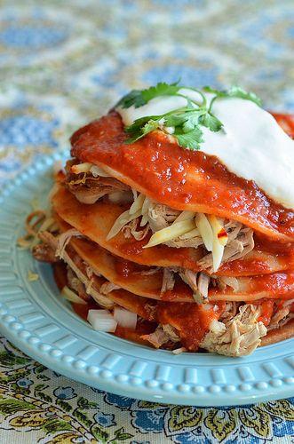 Chipotle Shredded Pork Enchiladas